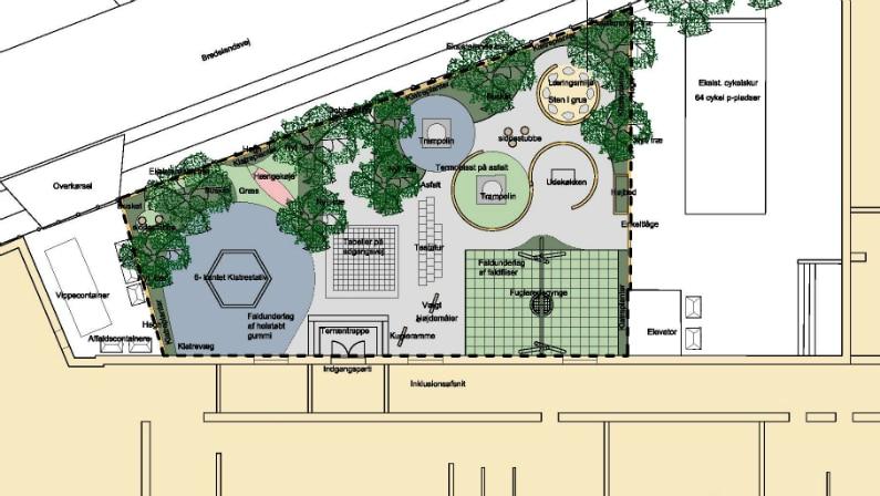 Plantegning over Lundehusskolens nye legeplads