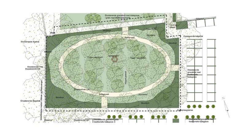 Plantegning over projektforslaget til Gørlev Kirkegård