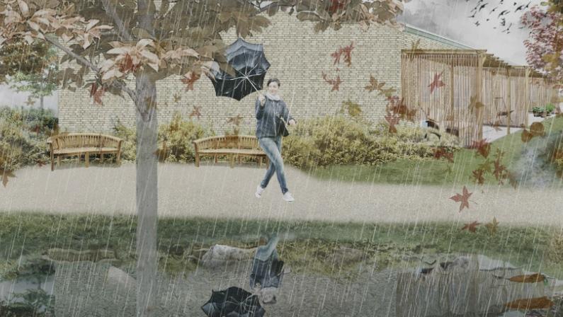 Den lokale afledning af regnvand giver stedet kvaliteter