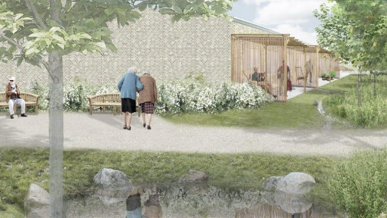 Visualisering af udearealerne omkring ældreboliger på Parkvej, Viby Sjællande 2016