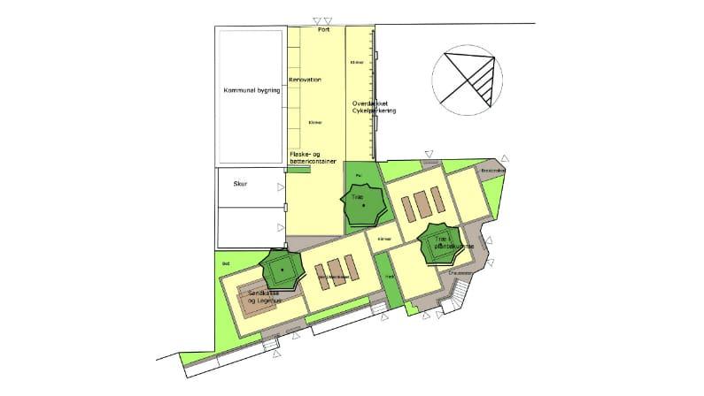 Plan af gårdanlægget Åhusene på Frederiksberg