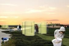 Visualisering af skærme til udstilling, idékonkurrence Reykjavik Wetlands