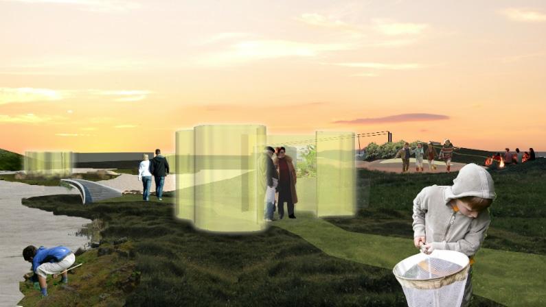 Udstillinger på skærme inspireret af Alvar Altos vaser, Reykjavik Wetlands