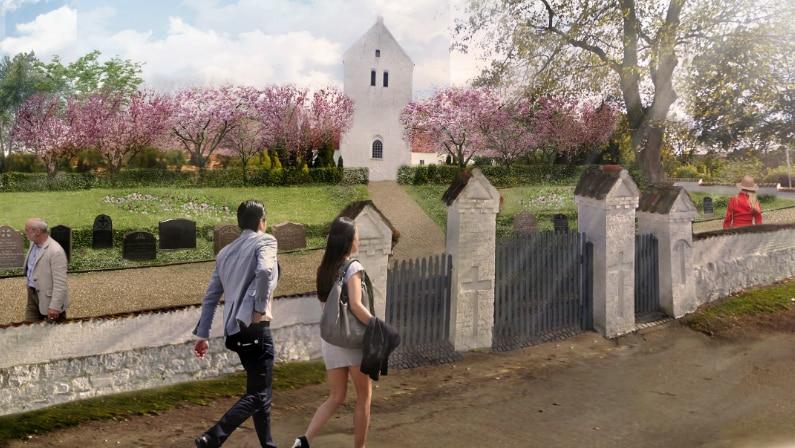 Visualisering af fremtidig beplantning på Værslev kirkegård