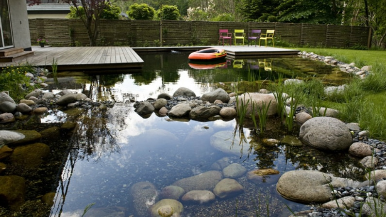 Svømmesøen skaber en unik stemning i haven