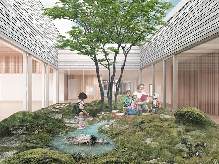 Tuse Børnehus, visualisering af atrium